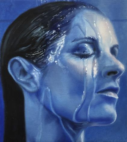 Kelli Vance Self Portrait in Blue, 2018 Oil on linen 10 × 9 in
