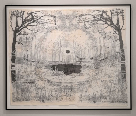 Kent Dorn  Aura (Death Valley Daze), 2012  graphite and tape on tracing paper on newsprint  77 x 93 inches