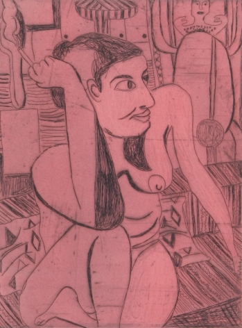 Tal R  Girl Smoking (#6 from series of 12), 2014  line etching on somerset 400 gr.  image: 7 3/4 x 7 1/8 inches  paper: 17 1/8 x 14 1/2 inches  frame: 18 3/4 x 16 1/2 inches  6, Edition of 24  $950