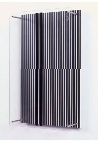 Jesus Rafael Soto Paralelas vibrantes (Serie Sintesis), 1979 silkscreen on acrylic with two sheets separated by four metal rods 17.32 x 10.63 x 5.5 inches Edition 18 of 110