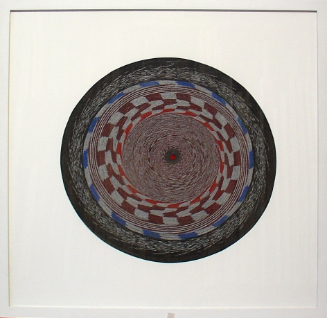 Stephen Dean Target - 1025, 2004 Uncoiled dartboard & paint 36 x 36 x 2 in. (framed)