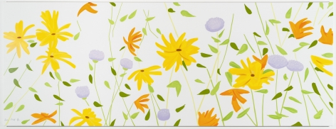 Alex Katz  Summer Flowers, 2018  silkcreen on canvas  42 x 111 x 1.5 inches  Edition of 35  $60,000