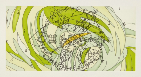 Matthew Ritchie,  Sea State Five (suite of five works), 2003,  color etching and aquatint on paper,  15 5/8 x 30 7/8 inches,  edition of 28,  signed, numbered and dated on verso