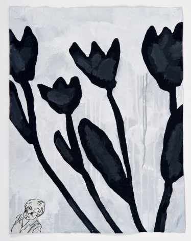 Donald Baechler  BLACK FLOWERS, 2011  gesso, Flashe, graphite and paper collage on paper  27 x 21 inches  Inquire