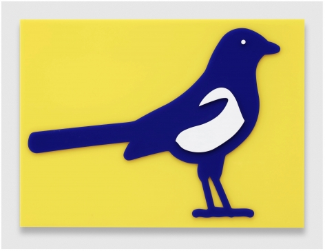 Julian Opie Small birds: Magpie, 2020 wall mounted acrylic relief 14.02 x 19.13 x 1.57 inches (35.6 x 48.6 x 4 centimeters) Edition of 20