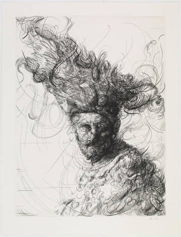 Glenn Brown Bring On The Dancing Horses (after Rembrandt), 2019 etching on 400 gsm Somerset Warm Velvet plate: 35 1/8 x 26 5/16 inches paper: 40 9/16 x 31 inches Edition 11 of 38 signed by the artist and numbered on the reverse (GB-8)