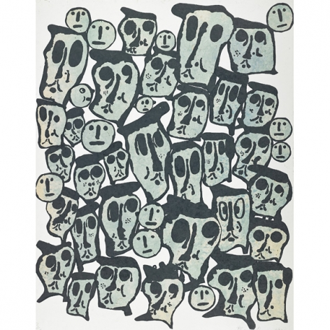 Donald Baechler Untitled #3 (From the Crowds Portfolio), 1990   woodcut on handmade Nepali paper (hand-dyed with indigo) 43 x 34 inches Edition of 35 with 3 AP bottom right front  Publisher: Baron/Boisanté Editions, New York