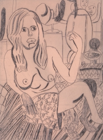 Tal R  Girl Smoking (#5 from series of 12), 2014  line etching on somerset 400 gr.  image: 7 3/4 x 7 1/8 inches  paper: 17 1/8 x 14 1/2 inches  frame: 18 3/4 x 16 1/2 inches  6, Edition of 24  $950