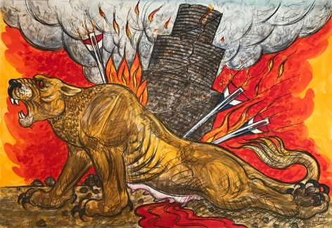 Luis Jimenez  Assyrian Lion, 2004  lithograph  29 1/2 x 40 inches  Edition of 50  $3,500