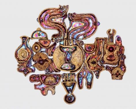 Julia Kunin Rainbow Dream Machine, 2019 ceramic wall piece 39 x 45 x 4 inches