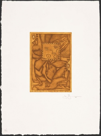Jasper Johns  Untitled, 1995  mezzotint in 2 colors with chine colle on Gampi laid down on custom made HMP paper  frame: 36 x 30 inches  image: 26 x 91 inches  Edition of 39  $7,500