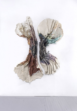 Brie Ruais Currents and Tides, 130lbs and 128lbs, 2020 glazed stoneware, hardware 80 x 57 x 6 inches