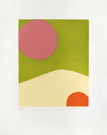 Etel Adnan Voyage vers la lune, 2018 etching 18 7/8 x 14 15/16 inches Edition 16 of 35 signed and dated bottom right front margin (EA-9)