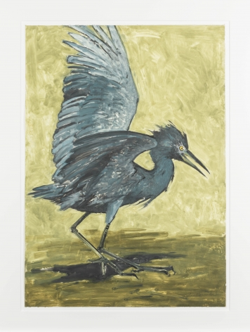 John Alexander  Baby Blue Heron with Gold Background, 2012  monotype from steel and aluminum plates with hand-coloring  paper: 35 1/4 x 25 1/4 inches  frame: 43 1/2 x 33 inches