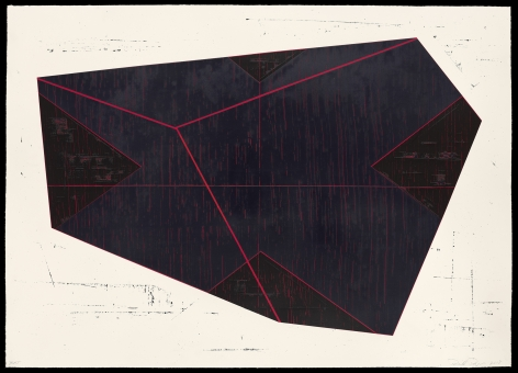 David Row,  Index, 2018,  silkscreen in 3 colors with waterbased and UV inks (15 passes),  image: 48 3/4 x 68 1/2 inches,  paper: 49 1/4 x 69 inches,  frame: 52 3/4 x 72 5/8 inches,  edition of 10