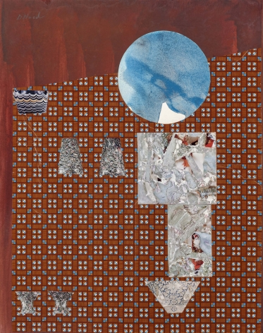 Dorothy Hood  Crystals and The Blue World, 1982-1997  collage on mat  20 x 16 inches