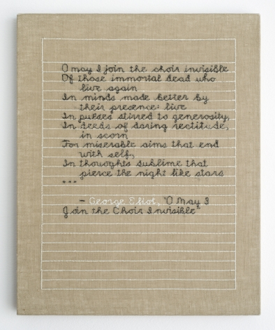 Elaine Reichek O May I Join the Choir Invisible hand embroidery