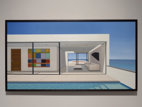 Tom McKinley  14th Floor Life, 2019  oil on panel  29 x 49 inches