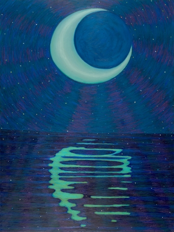 Ping Zheng A Moon Night, 2020 oil stick on paper 24 x 18 inches