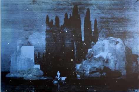 THE BRUCE HIGH QUALITY FOUNDATION  Isle of the Dead, 2014  silkscreen, acrylic paint on canvas  80 x 120 inches  inquire