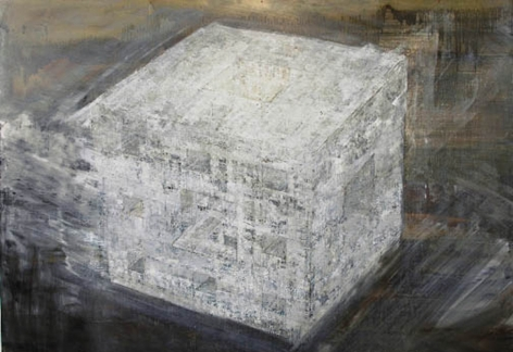 Katsumi Hayakawa  3D Cubic Fractal, 2005  oil on canvas  46 x 60 inches