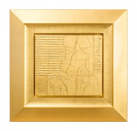 Christian Eckart,  Craquelure Detail Painting #1, 2017,  23 karat gold leaf on birch panel and unique aluminum extrusion,  26 1/2 x 27 1/2 x 2 1/2 inches