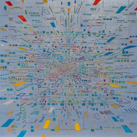Katsumi Hayakawa  Amplitude #1702, 2017  acrylic on paper on wood panel  31 1/2 x 31 1/2 inches