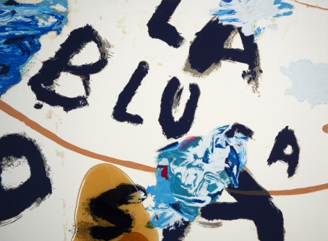Julian Schnabel  detail of: Sexual Spring-Like Winter - La Blusa Rosa, I, 1995  hand painted, 18 color silkscreen with poured resin  40 x 32 inches  edition of 80  Publisher: Lococo FIne Art Publisher  $12,000  Inquire