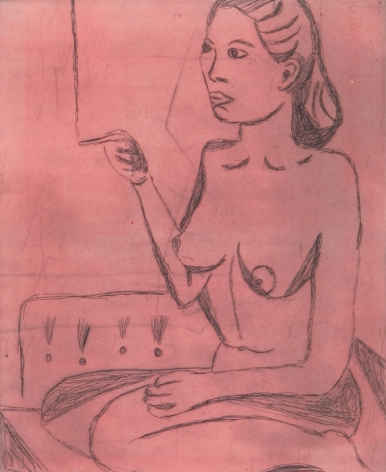 Tal R  Girl Smoking (#9 from series of 12), 2014  line etching on somerset 400 gr.  image: 7 3/4 x 7 1/8 inches  paper: 17 1/8 x 14 1/2 inches  frame: 18 3/4 x 16 1/2 inches  6, Edition of 24  $950