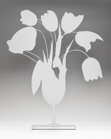 Donald Sultan  White Tulips and Vase, 2014  painted aluminum on polished aluminum base  24 x 24 x 3 1/2 inches  edition of 25  $13,000