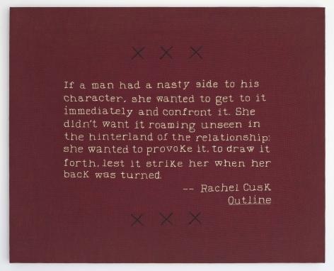 ELAINE REICHEK (b.1943 Brooklyn, NY) Nasty Side (Rachel Cusk), 2019 hand embroidery on linen 21 x 26 inches