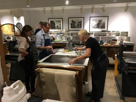John Alexander and Karin Broker at work at the Rice University Printmaking Studio