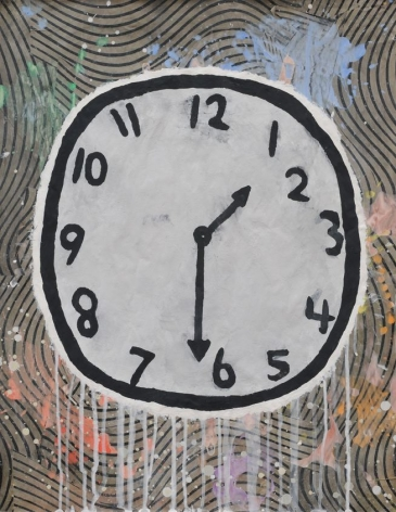Donald Baechler  THE AMIABLE ANNEX (Clock), 2014  gesso, Flashe and paper collage on paper  27 x 21 inches  Private collection