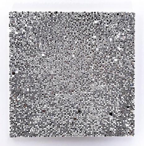 Katsumi Hayakawa  Reflection SQ, 2018  paper and mixed media on wood panel  35 x 35 inches