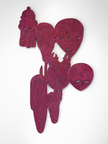 Bo Joseph Catching Ghosts: Personae, 2020 casein and acrylic on resin, fiberglass and foam 60 1/4 x 35 3/4 x 1 1/2 inches