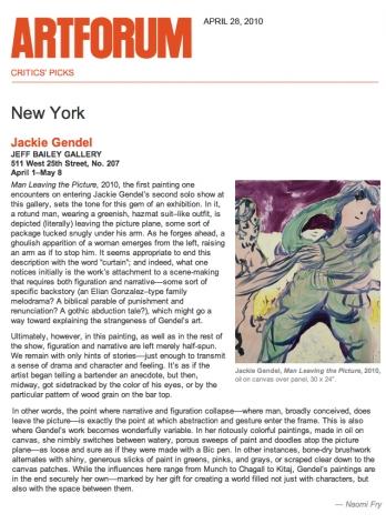 Critics Picks: Jackie Gendel
