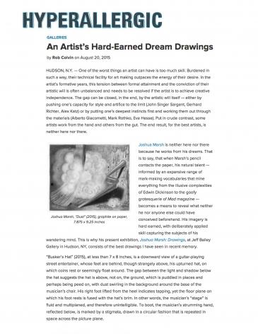 Joshua Marsh: An Artist's Hard-Earned Dream Drawings