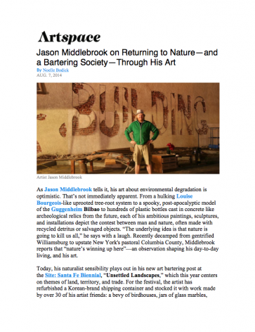 Jason Middlebrook on Returning to Nature–and a Bartering Society–Through His Art