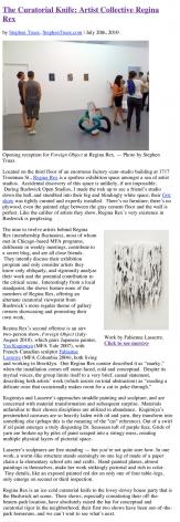 The Curatorial Knife: Artist Collective Regina Rex