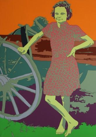 Russell Lee: Farm girl leaning on wagon, near Morganza, Louisiana