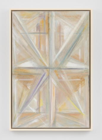 a mostly yellow rectangular painting with diamond patterns running up and down it's surface