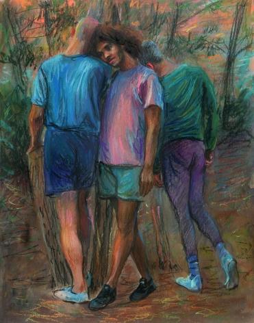 three men standing in a forrest