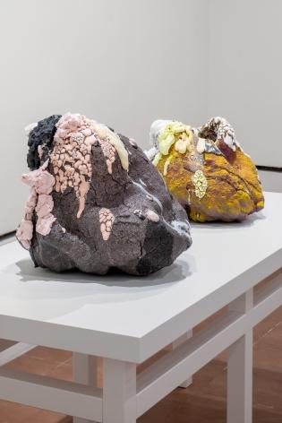 Installation view of ceramic sculptures by Brian Rochefort