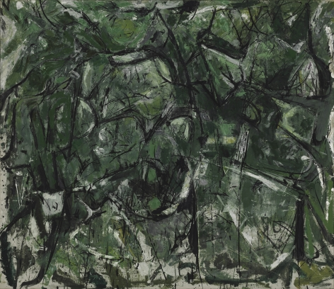 green abstract painting of a landscape
