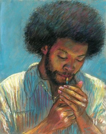 drawing of a man smoking