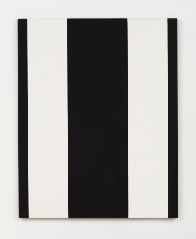 rectangular painting with two vertical white stripes and three vertical black stripes