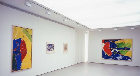 installation view of two large paintings and a small drawing in a large gallery