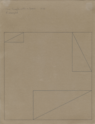 Three Triangles Within a Square, 1976, Pencil on paper, Framed Dimensions:31 3/4 x 24 1/4 inches (80.6 x 61.6 cm), © 2015 Robert Mangold / Artists Rights Society (ARS), New York