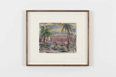 a landscape etching with two palm trees