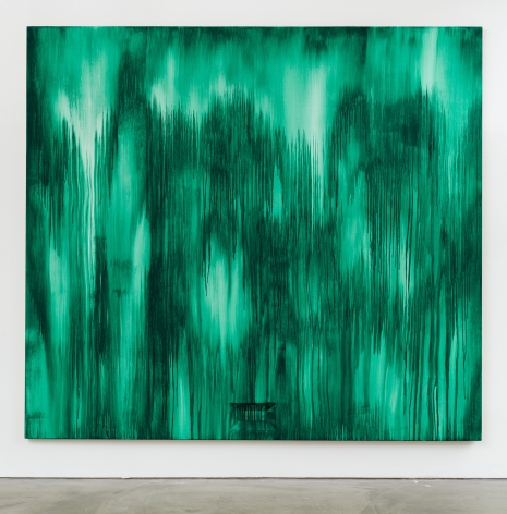Drippy green painting on panel by Moira Dryer